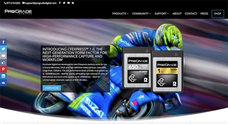 ProGrade DIgitalの公式サイトの画像